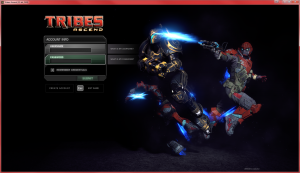 Login screen for Tribes Ascend